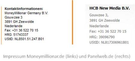 Screenshot Impressum Panelweb.de und Moneymillionar.de