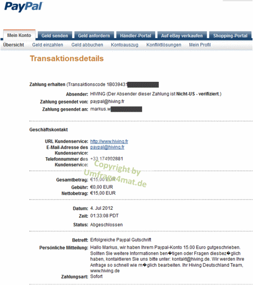 Screenshot Auszahlungsbeleg hiving