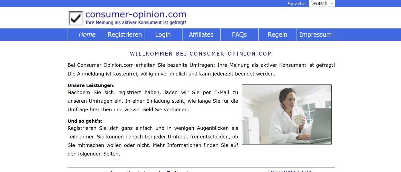 Consumer-Opinion Screenshot 2020 - Ihre Meinung als aktiver Consument ist gefragt.