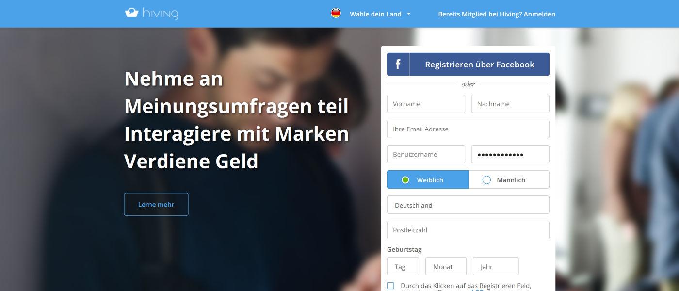 hiving screenshot 2020 - Nehme an Meinungsumfragen teil Interagiere mit Marken Verdiene Geld