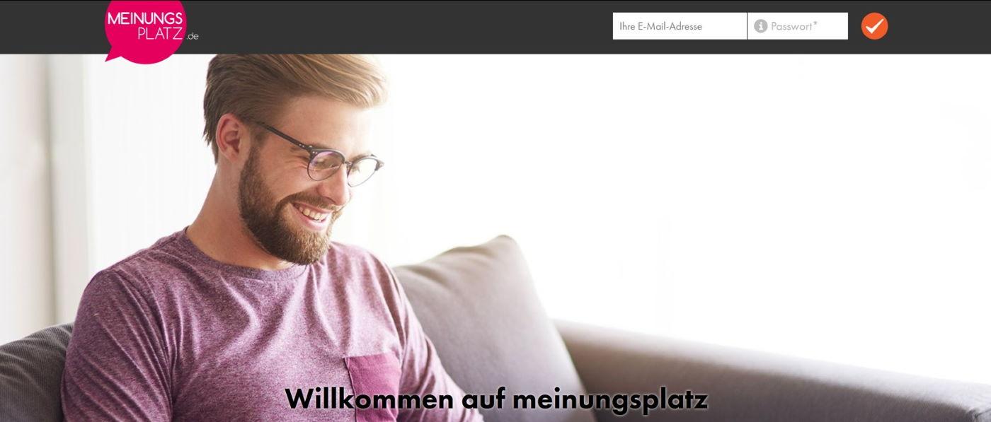 Meinungsplatz Webseite Screenshot. Willkommen bei Meinungsplatz. Nehmen Sie an Umfragen Teil und gestalten Sie die Produkte der Zukunft.
