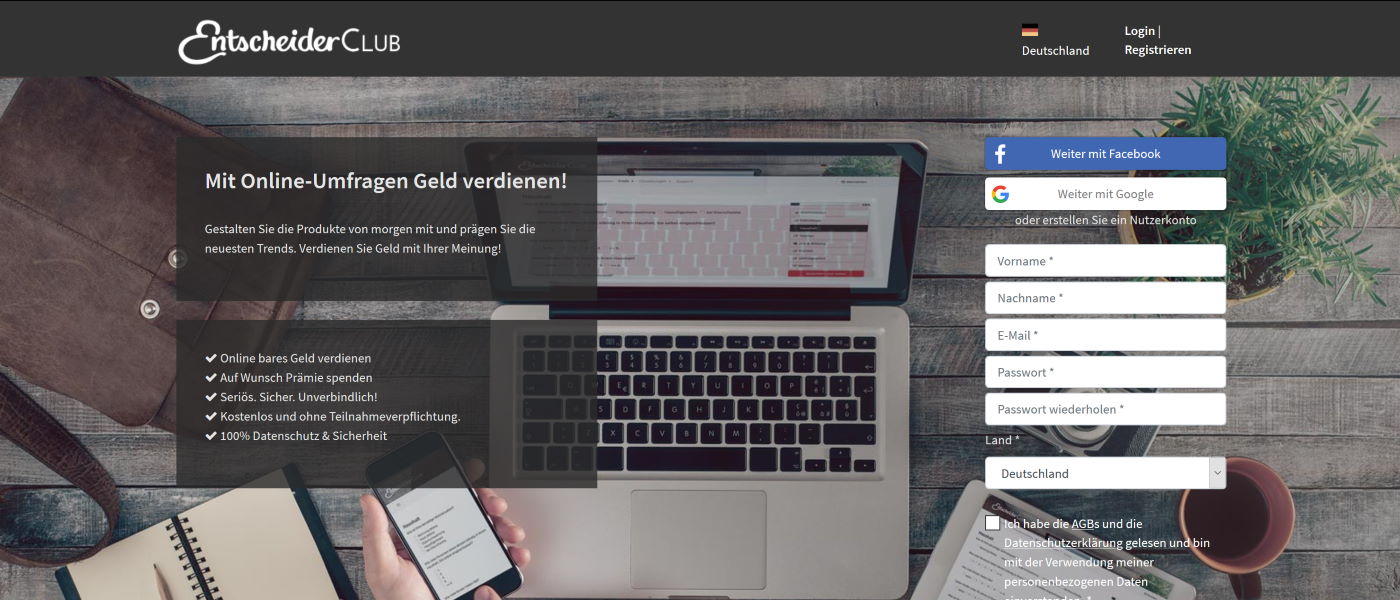 EntscheiderClub Startseite 2020 - Mit Online-Umfragen Geld verdienen